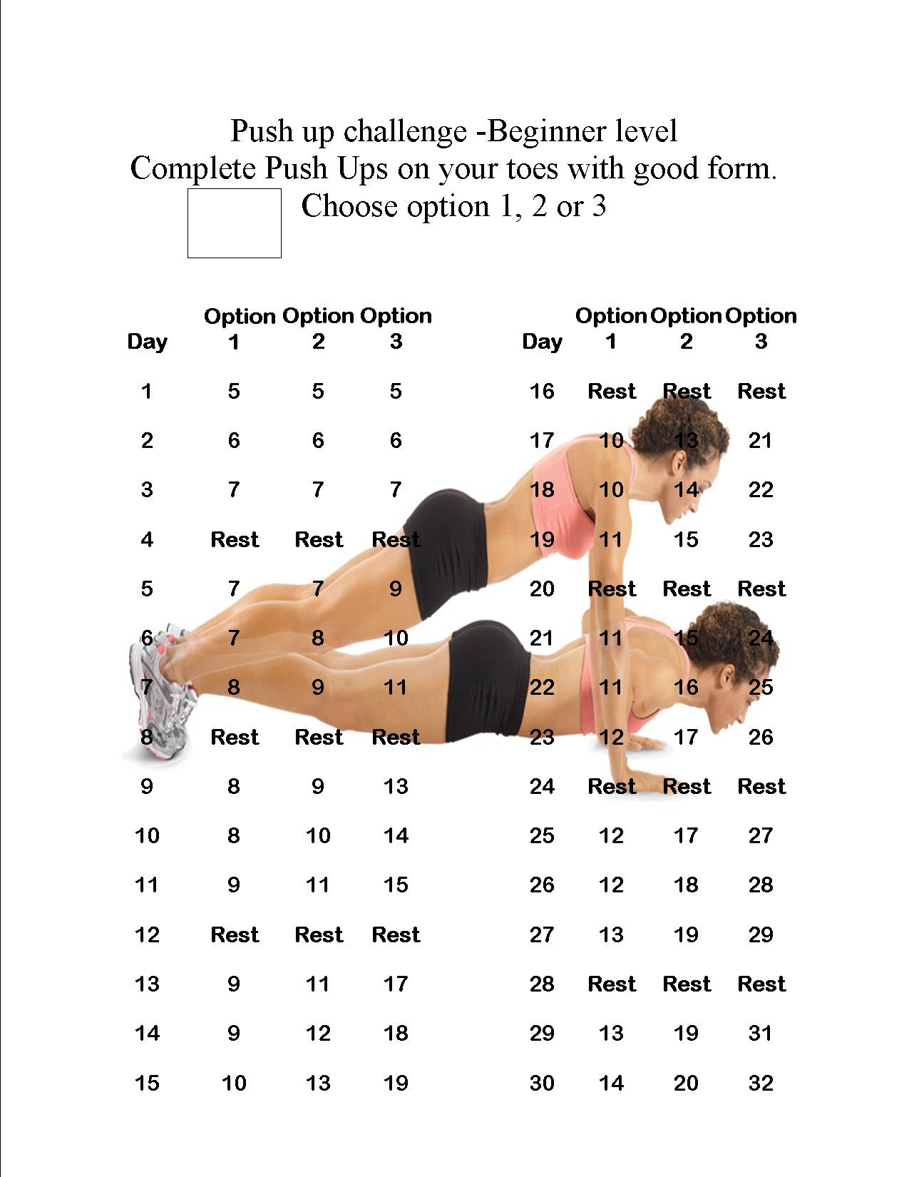 Push Up Challenge New Calendar Template Site